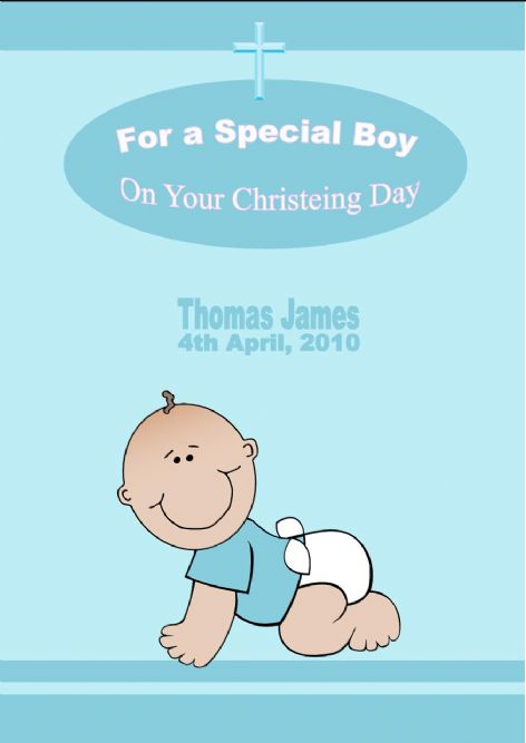 Personalised Boy Christening Card Design 1